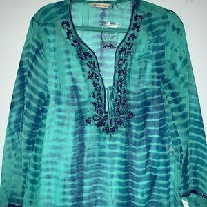NWOT Soft Surroundings Aqua Blue Tie Dye Tunic